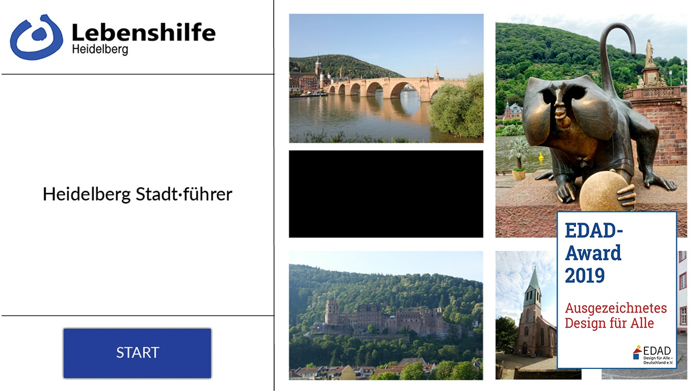 Das Bild zeigt das Titelbild zum Stadtführer 1. Es zeigt die Stationen Alte Brücken, den Brücken Affen, das Schloß und eine Kirche.
