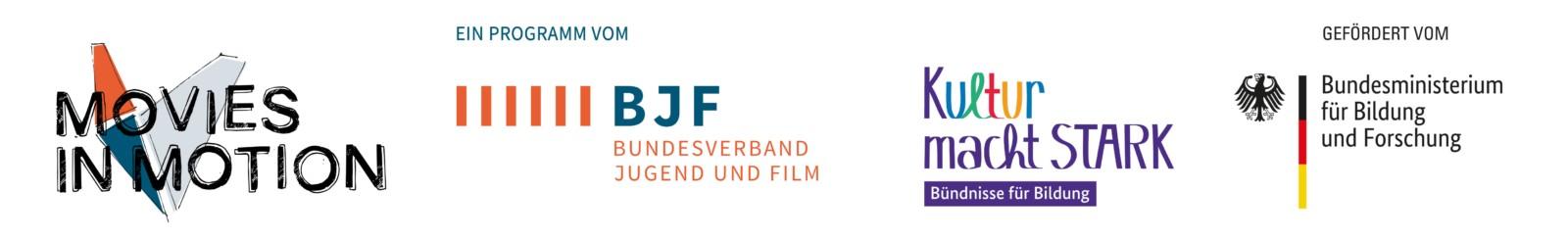 4 Logos: 1. Movies in Motion, 2. Ein Program vom BJF Bundesverband Jungend und Film, 3. Kultur macht Stark, Bündnisse für Bildung, 4. Gefördert vom Bundesministerium für Bildung und Forschung.