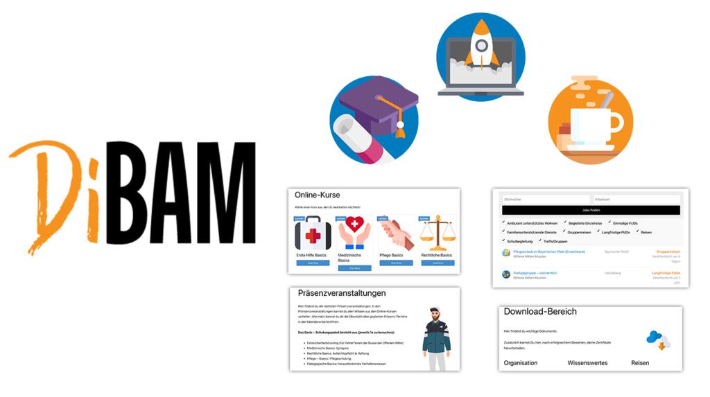 Eine Vorschau über die DiBam Seite. 1. Logo: DiBaM. Vorschaubild Modul 1 Rechtliche Basics. Fragen und Quiz Folien. Übersicht über Kurse. Übersicht über Präsenzveranstaltungen.