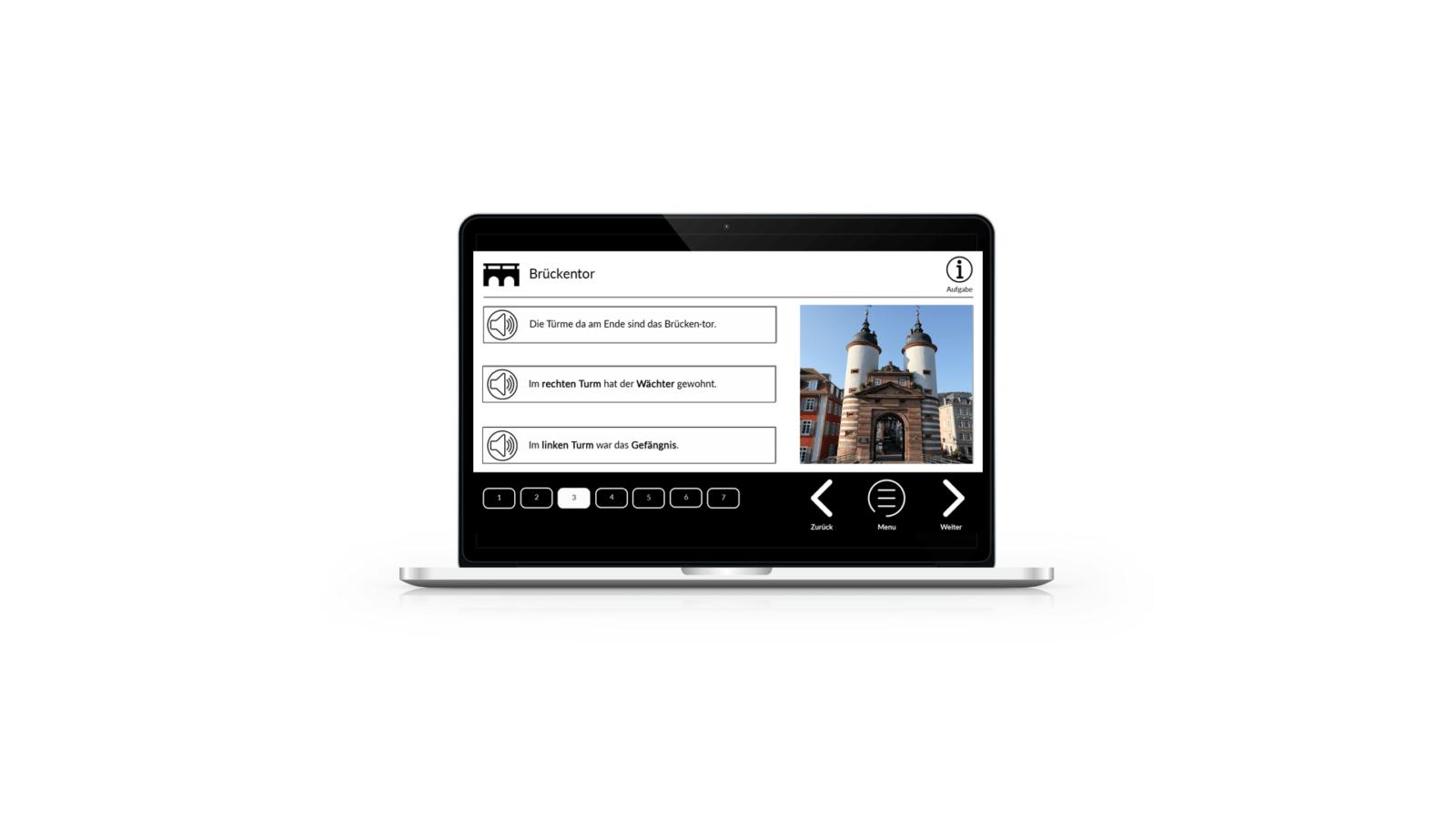 Man sieht einen Laptop. Auf dem Bildschirm ist eine Inhaltsfolie des Stadtfuehrer Heidelberg 1 zu sehen.