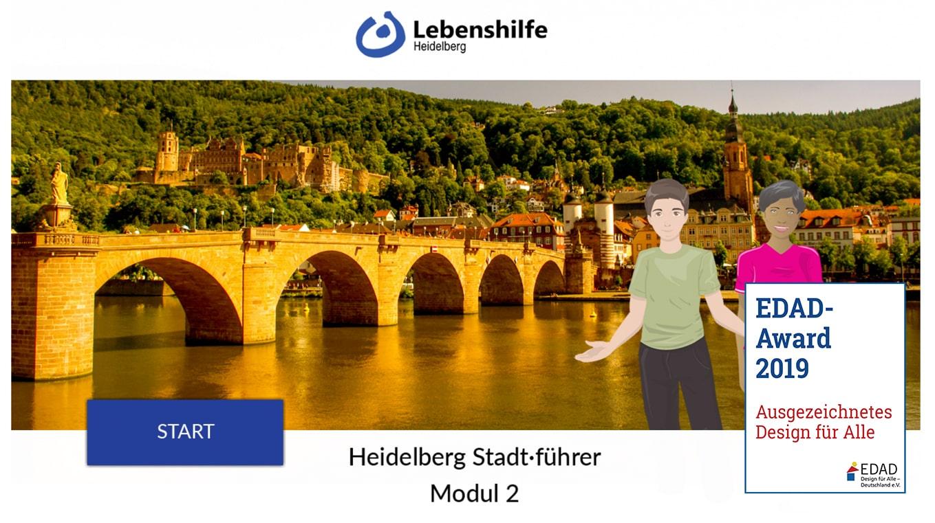 Das Bild zeigt das Titelbild zum Stadtführer 2. Zu sehen ist die alte Brücke und 2 Menschen, die die Stadtführung machen wollen.