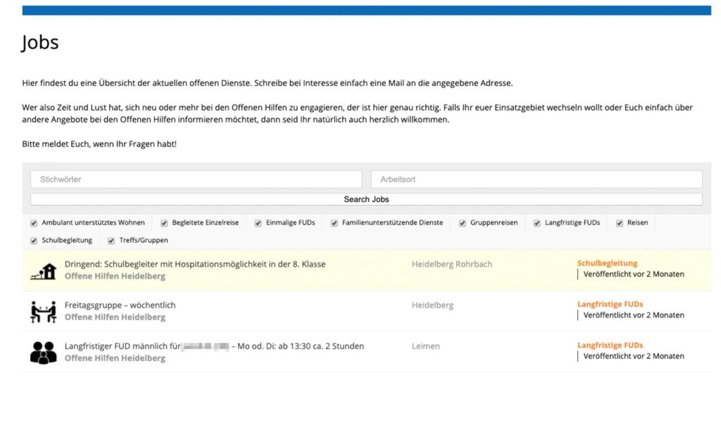 DiBam Job Seite wird gezeigt. Eine Übersicht über verfügbare Jobs. Die Jobs sind mit Icons kategorisiert und es wird angegeben in welchen Ort sie verfügbar sind.