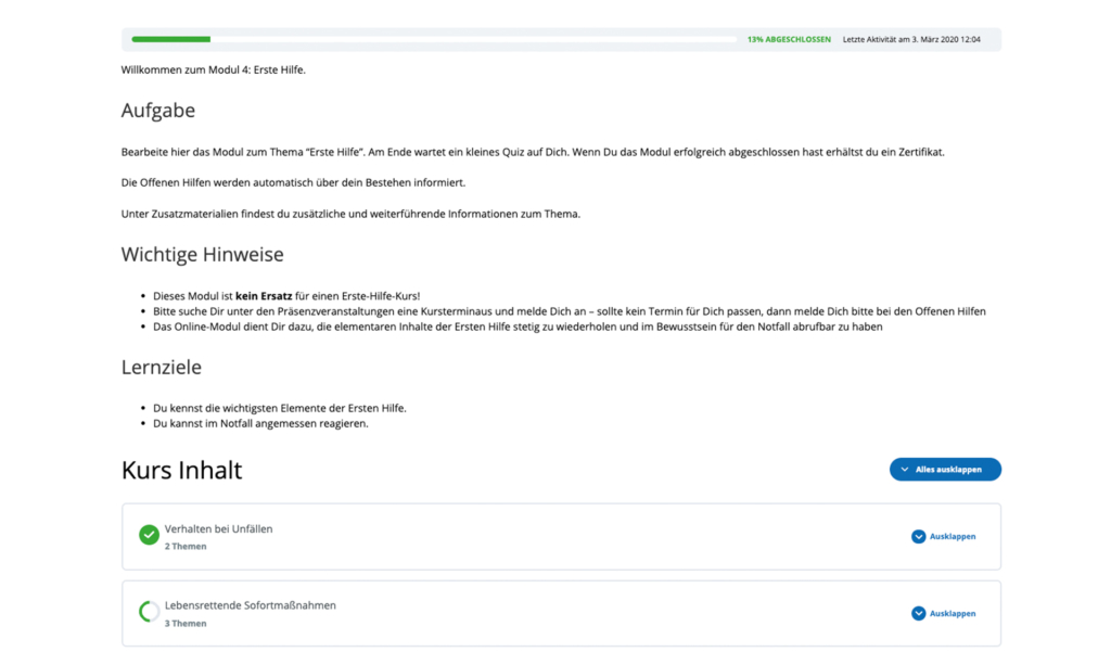 Die Seite zeigt einen typischen DiBAM Kursaufbau. Zuerste kommt die Aufgabe, dann werden Lernziele definiert. Danach erfolgt der Kursinhalt.