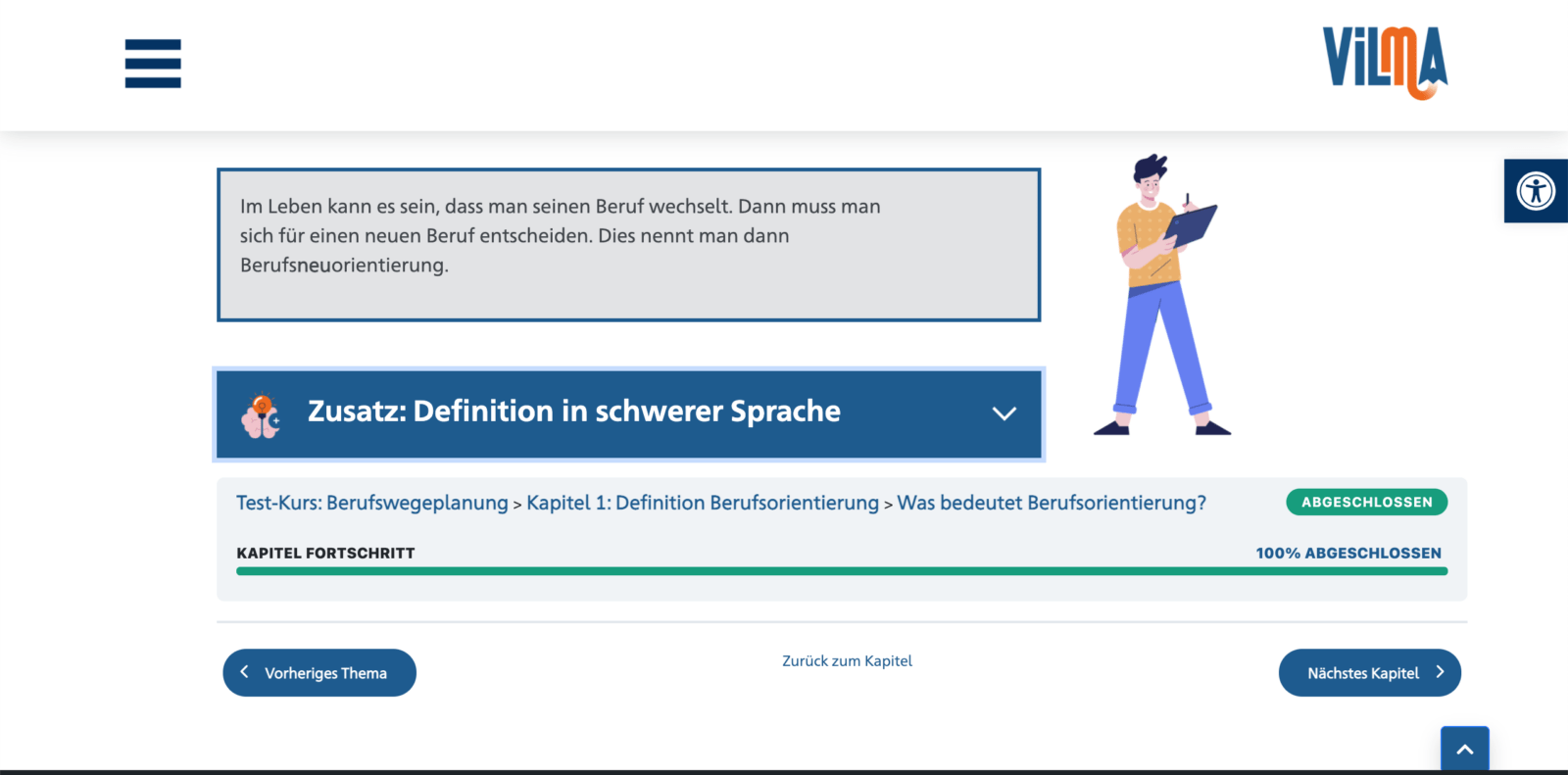 Screenshot aus Vilma. Links ist Content. Text steht in einer blauen Box. Darunter ist ein Drop-Down Menü: Definition in Schwerer Sprache. Rechts ist in klein eine gezeichnete Person.