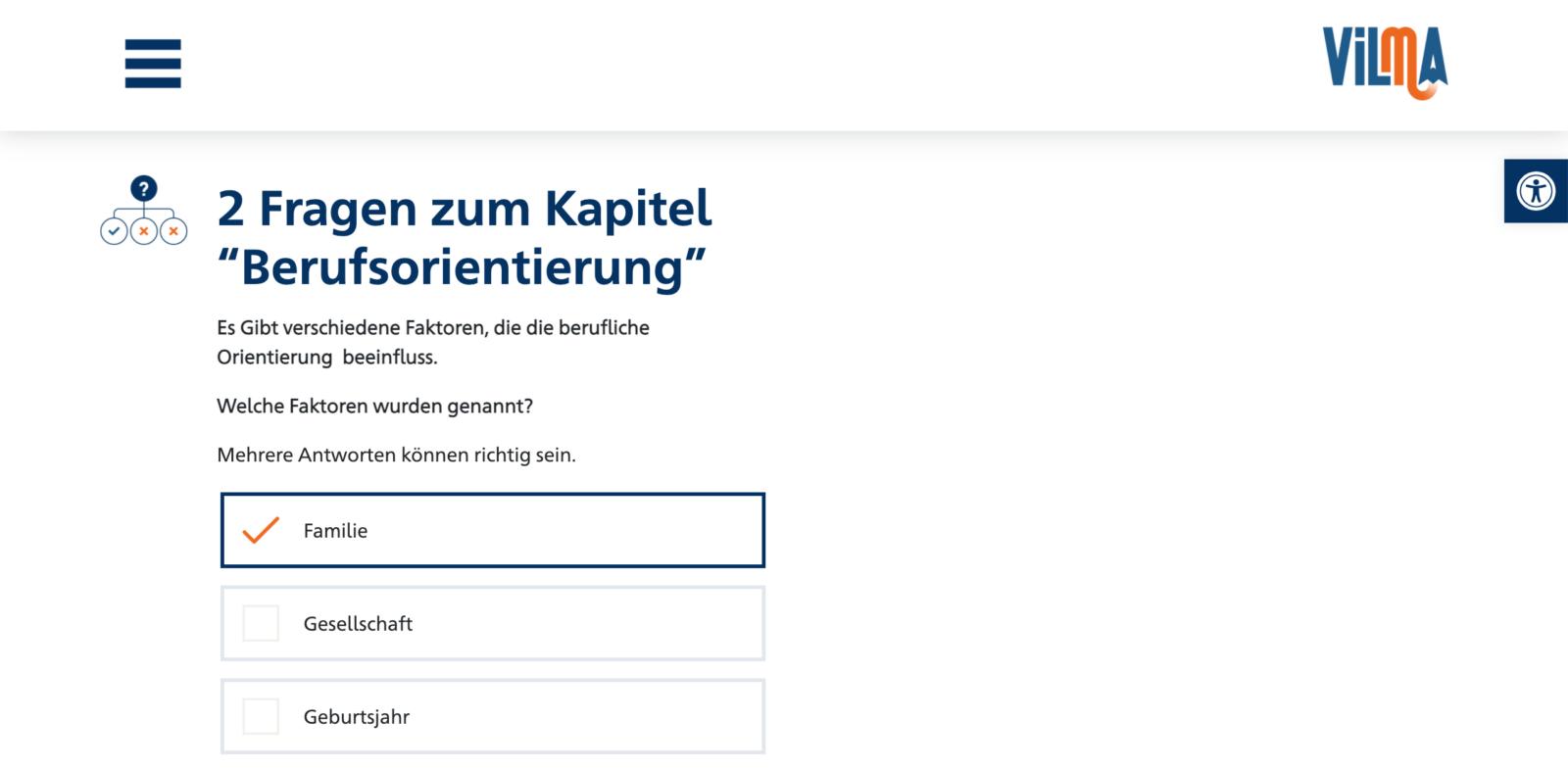 Screenshot Quiz aus VILMA. Es ist ein Multiple Choice Quiz zu sehen.