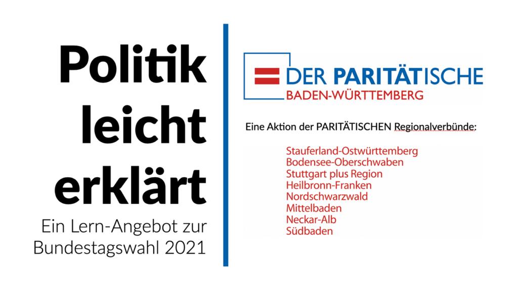 Das Bild zeigt den Schriftzug zum Projekt und führt die beteiligten Regionalverbünde des Paritätischen Baden-Württemberg auf.