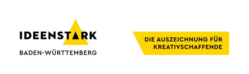 Logo: IdeenStark Baden-Württemberg, Text neben dem Logo: Die Auszeichnung für Kreativschaffende