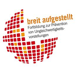 Logo: breit aufgestellt - Fortbildung zur Prävention von Ungleichwertigkeitsvorstellungen